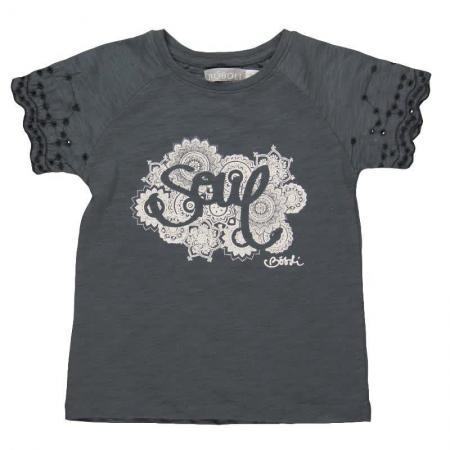 Tričko s krátkým rukávem Bóboli antracitové s potiskem Soul