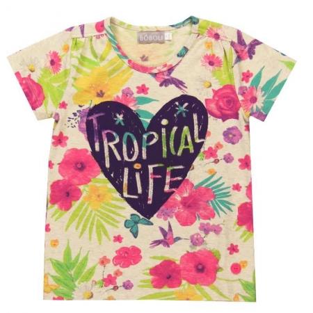 Tričko s krátkým rukávem Bóboli květinový vzor s potiskem Tropical life