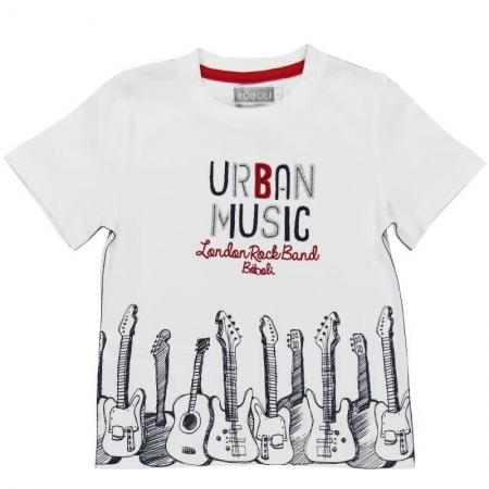 Tričko s krátkým rukávem Bóboli bílé s potiskem Urban Music