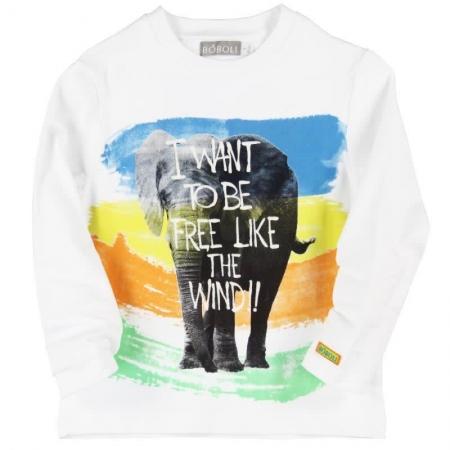 Tričko s dlouhým rukávem Bóboli bílé s potiskem Elephant