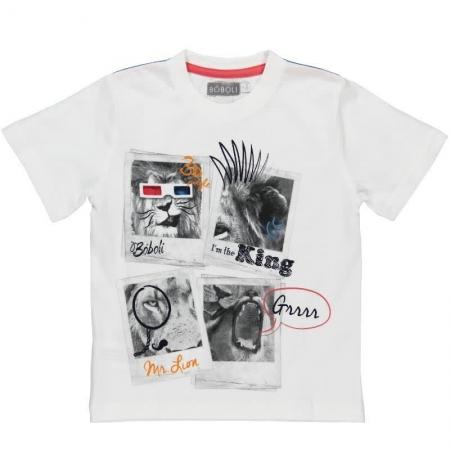 Tričko s krátkým rukávem Bóboli bílé s potiskem Lion