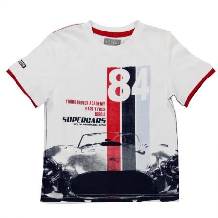 Tričko s krátkým rukávem Bóboli bílé s potiskem Supercars