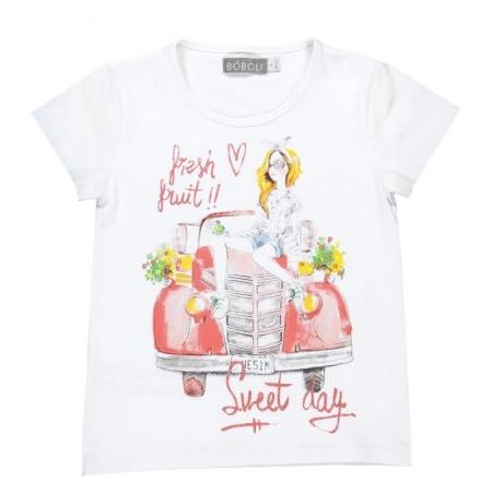 Tričko s krátkým rukávem Bóboli bílé s potiskem Sweet day