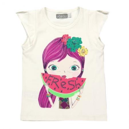 Tričko s krátkým rukávem Bóboli bílé s potiskem Fresh