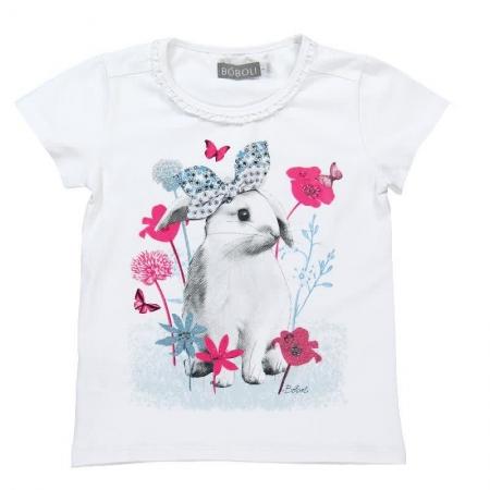 Tričko s krátkým rukávem Bóboli bílé s potiskem králíčka