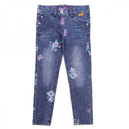 Jeans Bóboli modré s kytičkami