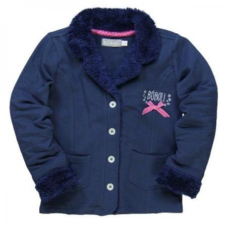 Kabát Bóboli modrý s mašličkou
