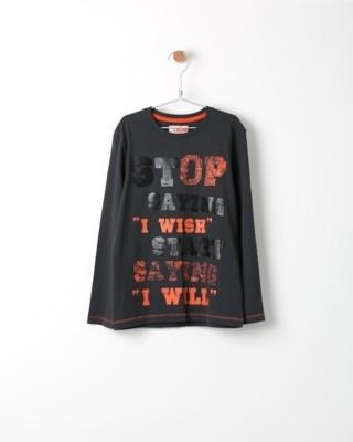 Tričko s dlouhým rukávem Losan černé s potiskem Stop