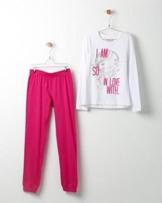 Pyžamo Losan s potiskem Love růžové