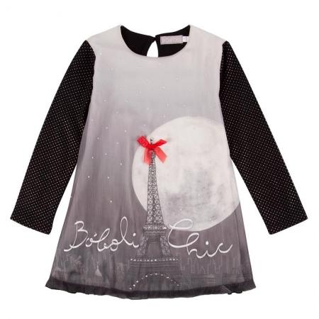 Šaty Bóboli s potiskem noční Paříže