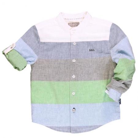 Košile s dlouhým rukávem Bóboli pruhovaná lněná