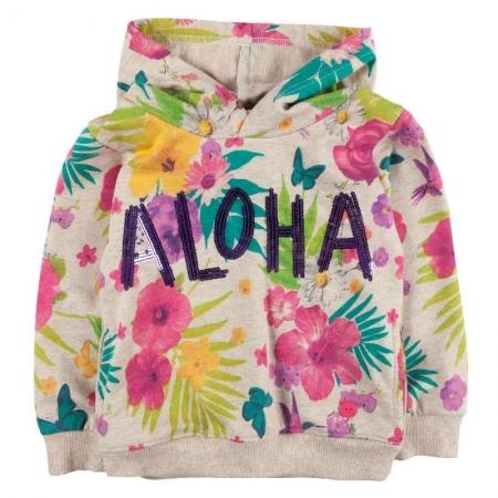 Mikina Bóboli s květinovým vzorem a výšivkou Aloha