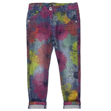 Jeans Bóboli strečové s květy