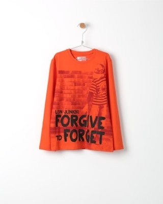 Tričko s dlouhým rukávem Losan oranžové s potiskem Forget