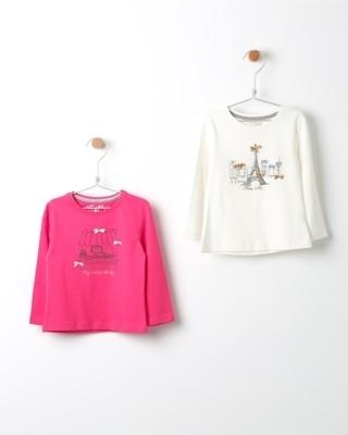 Set triček s dlouhým rukávem Losan růžové a bílé s potiskem obchodu a Paříže