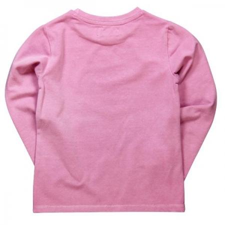 Tričko s dlouhým rukávem Bóboli růžové s potiskem dívky s kočkou
