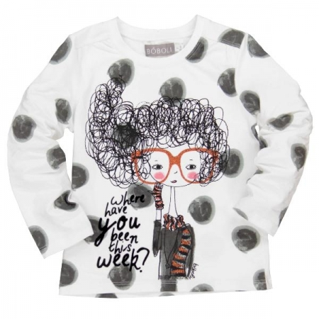 Tričko s dlouhým rukávem Bóboli s potiskem dívky s brýlemi