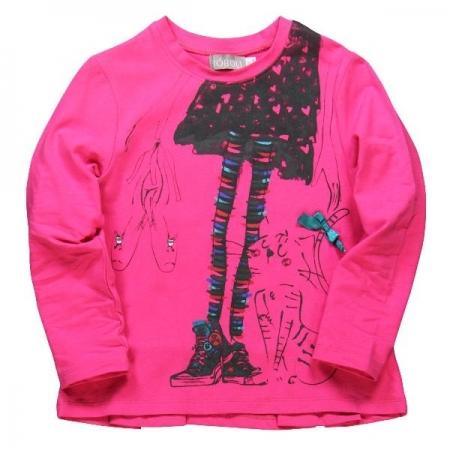 Tričko s dlouhým rukávem Bóboli růžové s potiskem dívky v sukni