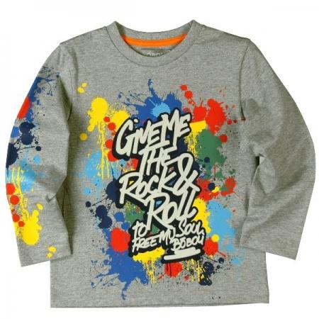 Tričko s dlouhým rukávem Bóboli šedé s potiskem Colours