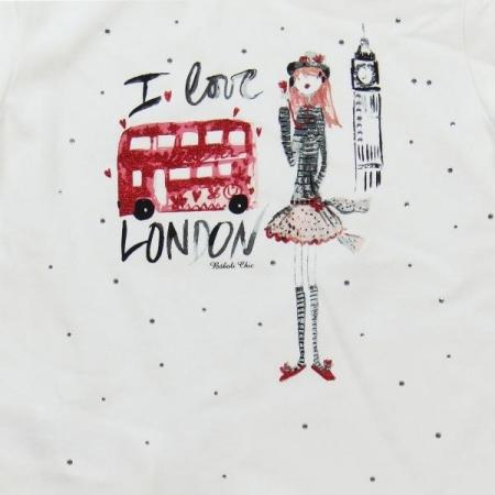Tričko s dlouhým rukávem Bóboli bílé s potiskem I love London