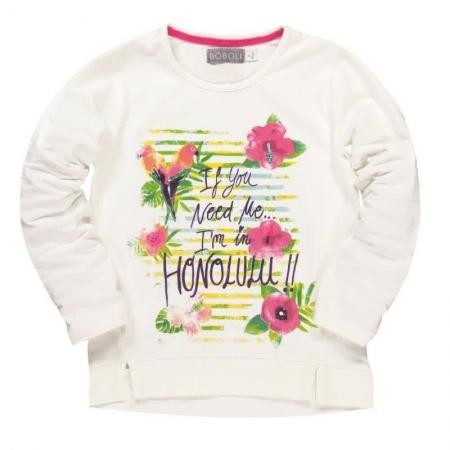 Tričko s dlouhým rukávem Bóboli bílé s potiskem Honolulu
