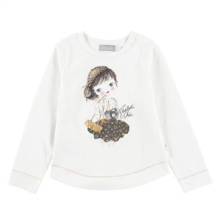 Tričko s dlouhým rukávem Bóboli bílé s potiskem Bóboli chic