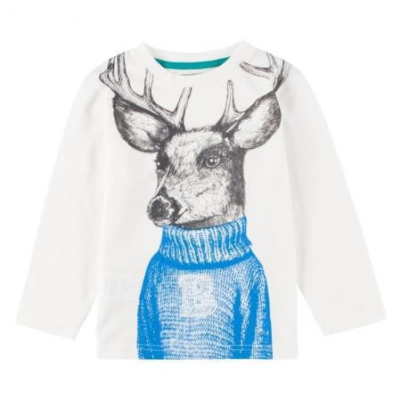 Tričko s dlouhým rukávem Bóboli bílé s potiskem jelena