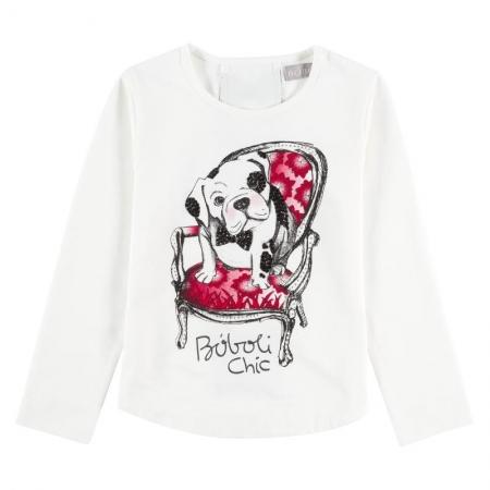 Tričko s dlouhým rukávem Bóboli bílé s potiskem psa