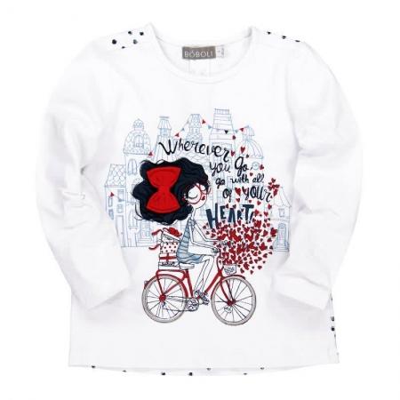 Tričko s dlouhým rukávem Bóboli bílé s potiskem Heart