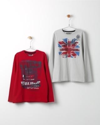 Set triček s dlouhým rukávem Losan červené a bílé s potiskem England