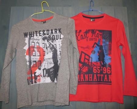 Set triček s dlouhým rukávem Losan šedé a červené s potiskem Manhattan