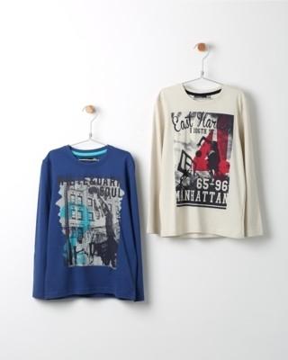 Set triček s dlouhým rukávem Losan modré a béžové s potiskem Manhattan