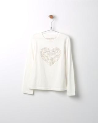 Tričko s dlouhým rukávem Losan béžové se zlatým srdcem