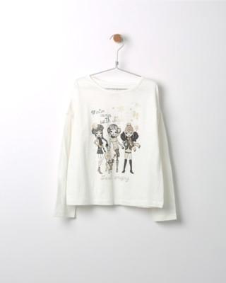 Tričko s dlouhým rukávem Losan béžové s potiskem tří dívek