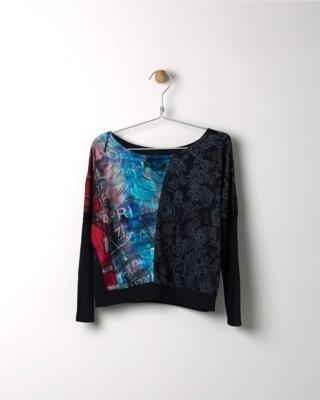 Tričko s dlouhým rukávem Losan černé s barevným klínem