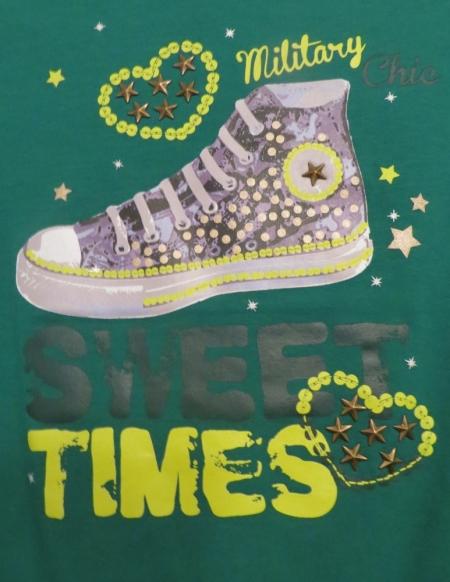 Set tunik s dlouhým rukávem Losan zelená a šedá s potiskem boty a parfému