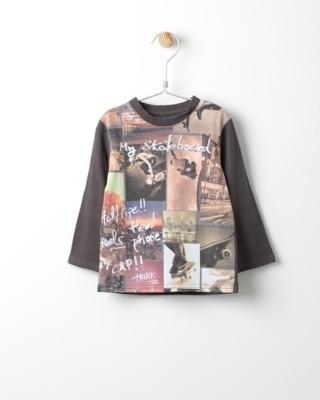 Tričko s dlouhým rukávem Losan hnědé s potiskem Skateboard