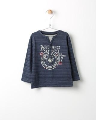 Tričko s dlouhým rukávem Losan modré s potiskem No.17