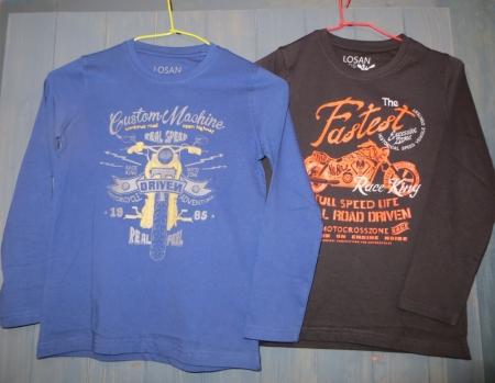 Set triček s dlouhým rukávem Losan modré a černé s potiskem motorky