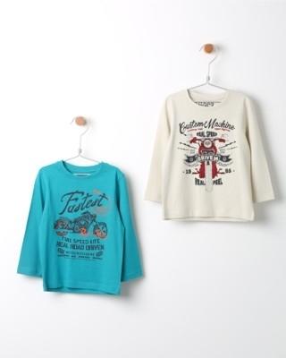 Set triček s dlouhým rukávem Losan modré a béžové s potiskem motorky