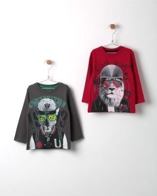 Set triček s dlouhým rukávem Losan šedé a červené s potiskem