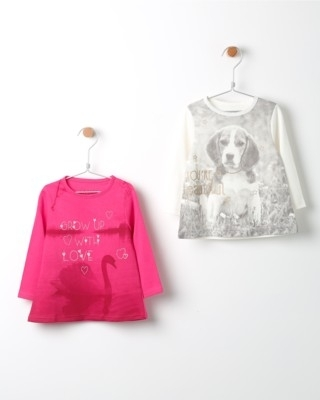 Set tunik  s dlouhým rukávem Losan růžová a bílá s potiskem labutě a psa