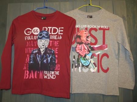Set triček s dlouhým rukávem Losan červené a šedé s potiskem lva