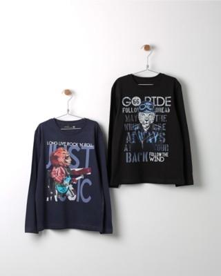 Set triček s dlouhým rukávem Losan modré a černé s potiskem lva