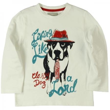 Tričko s dlouhým rukávem Bóboli s potiskem psa