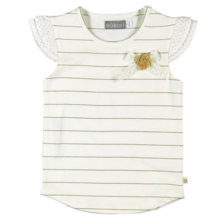 Tričko s krátkým rukávem Bóboli béžové se zlatými proužky a květinou