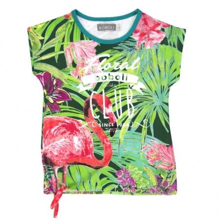 Tričko s krátkým rukávem Bóboli bílé s potiskem Floral