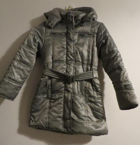 Zimní bunda Losan stříbrná s kapucí a páskem