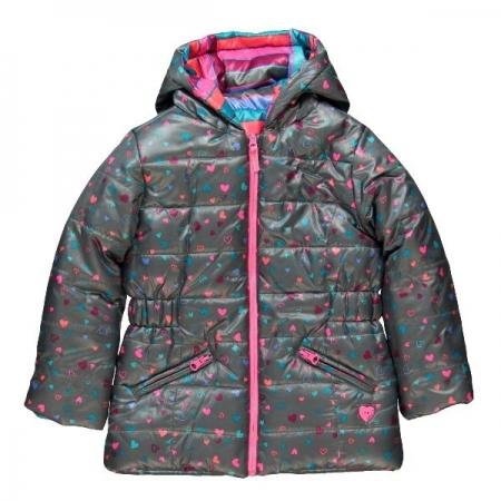 Zimní bunda oboustranná Bóboli proužek nebo srdíčka