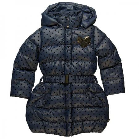 Zimní bunda Bóboli tmavě modrá s puntíky